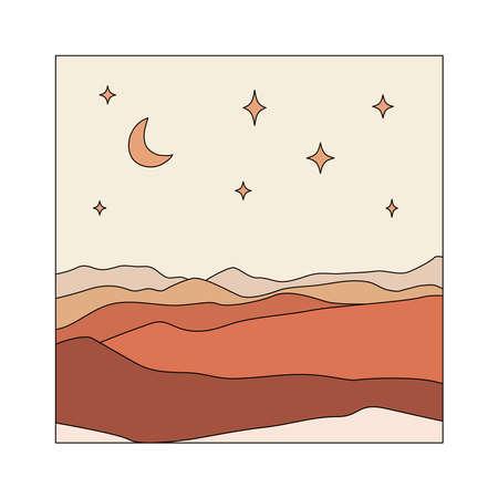 Moon, stars, mountains illustration. Abstract boho landscape