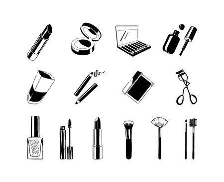 Hand drawn cosmetics icons, make up elements, beauty illustration
