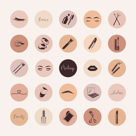Cosmetics icons, makeup elements, makeup artist social media highlight covers 向量圖像