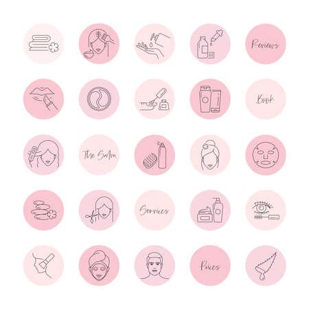 Beauty salon icons. Hair salon, nail studio, spa, makeup, skin care social media highlight covers