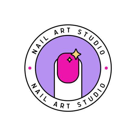Nail art studio logo template on white background 向量圖像