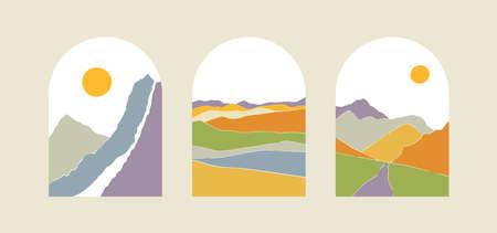Mountains, sun, moon, sunset, desert, hills minimalist design. Abstract landscape illustrations