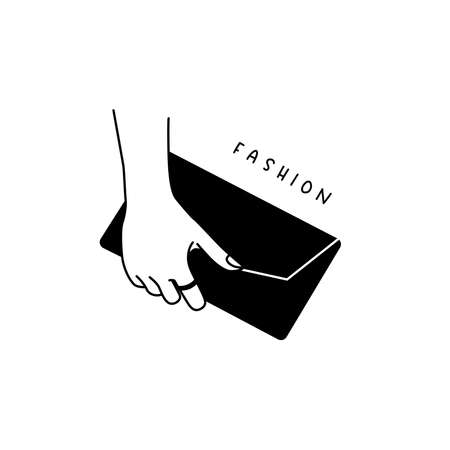 Female trendy illustration - hand holding clutch bag linear style.