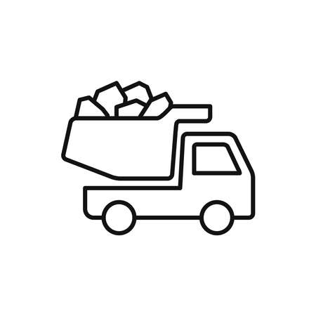 Construction truck icon vector linear style