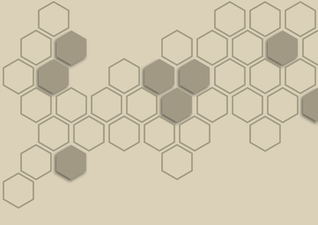 gold hexagon on taupe background