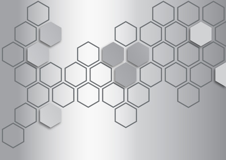 metalic: metalic silver hexagon on metalic silver background
