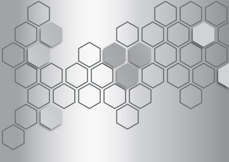 metalic silver hexagon on metalic silver background