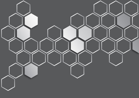 metalic: metalic silver hexagon on dark grey background