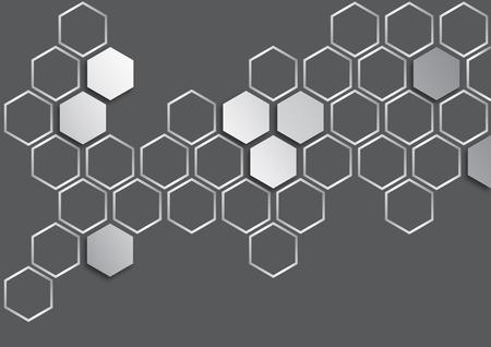 metalic silver hexagon on dark grey background