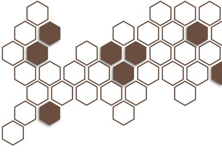 Terrazzo brown hexagon on white background