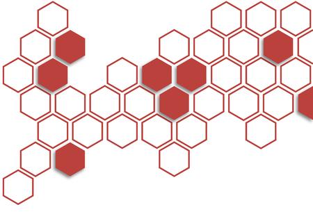 Tomato red hexagon on white background