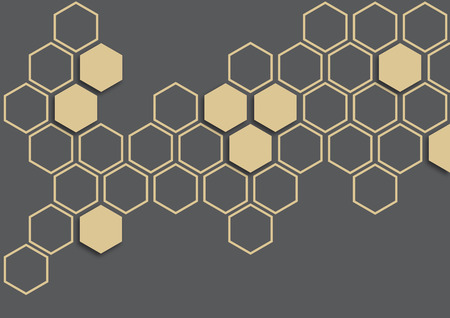 Ivory hexagon on dark grey background