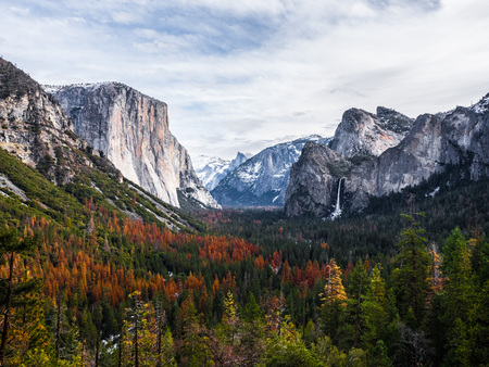 attraction point view for tourist, halfdome and waterfall with pine tree in foreground in winter