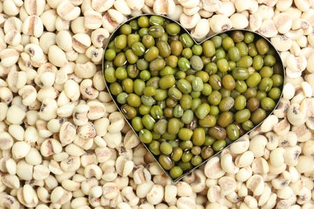 beans setted in heart shape Stock Photo