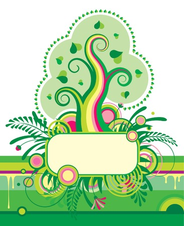 Vector green tree and a grassed banner Stock Vector - 4260230