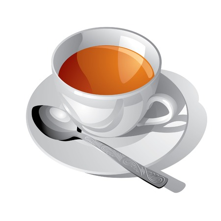 Vector image of the white cup of tea Vector