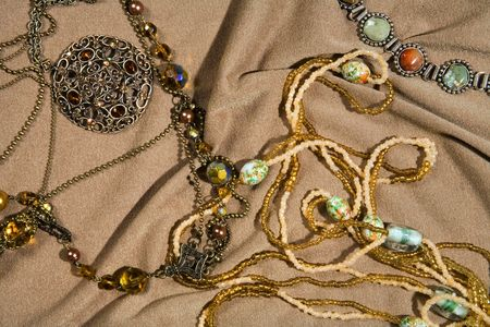 splendid: Amber beads Stock Photo