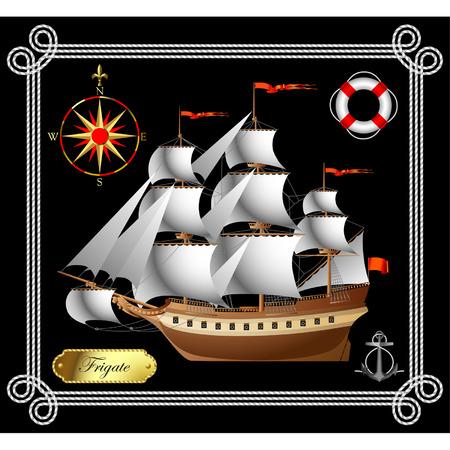 sailing vessel: Vector barco de vela con una rosa de los vientos, una vida y una boya de anclaje
