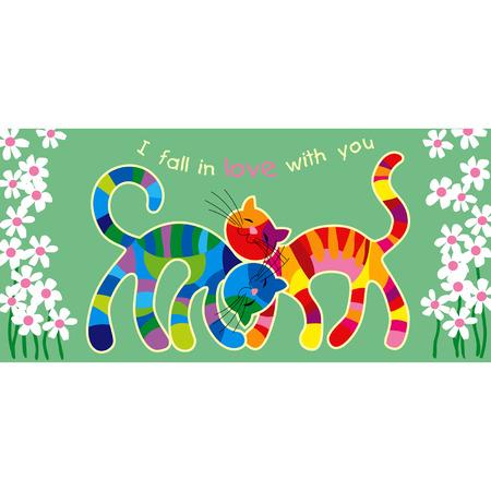 motley: Vector Motley con carta di gatti in amore