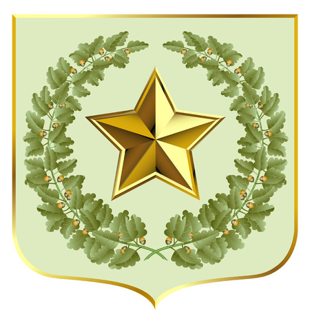 oak wreath: Vector green oak and a gold star on a escutcheon Illustration