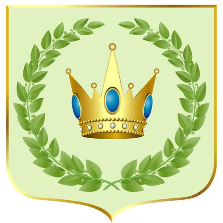 laurel leaf: Vector verdes laureles con una corona de oro sobre un escudo