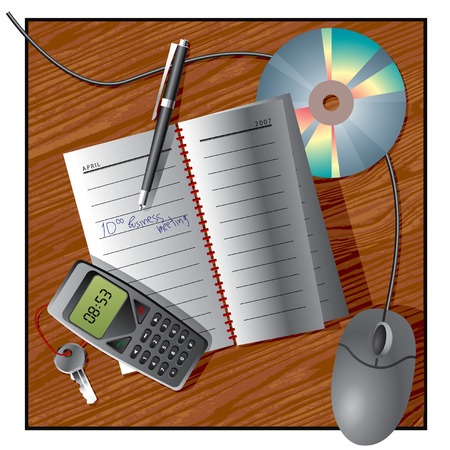 Vector image of an office still life with diary, cellphone, pen, CD and computer mouse on a desk Vector