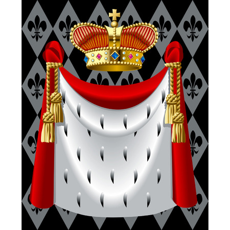 Vector image of the gold crown and a mantle
