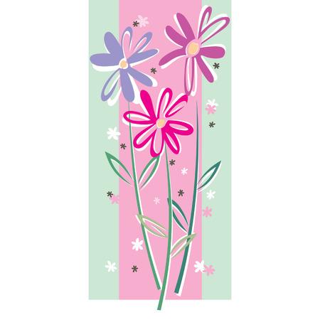 vector flowers: Vector card with rose flowers on a green ground Illustration