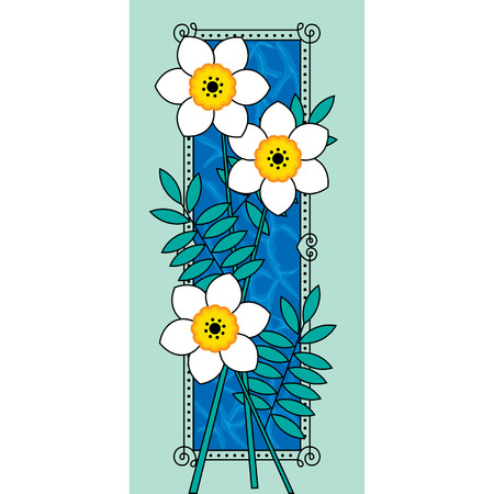 nosegay: Vector card with a white narcissus
