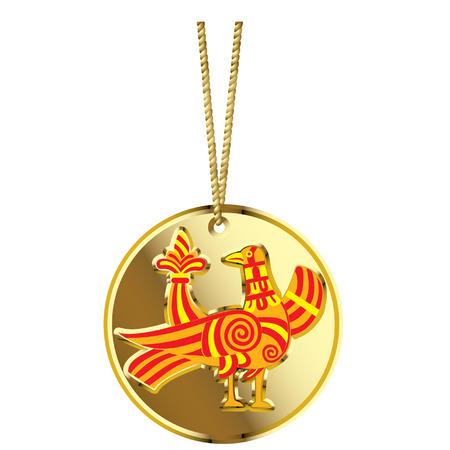 medaglione: Vector medaglione in oro con un russo fata uccello Vettoriali