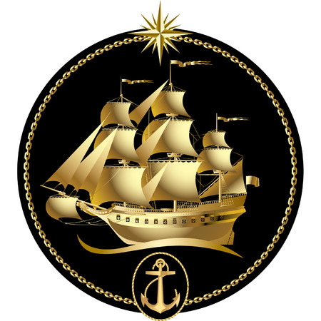 marine ship: Vector gold sailing ship with a wind rose and an anchor