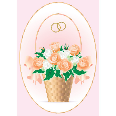 nosegay: Vector card with a bridal bouquet of tea-roses with drops of dew in a wicker basket and with wedding rings