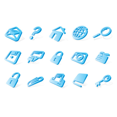 Vector blue website and internet icons Easy to edit, resize or colorize Vector