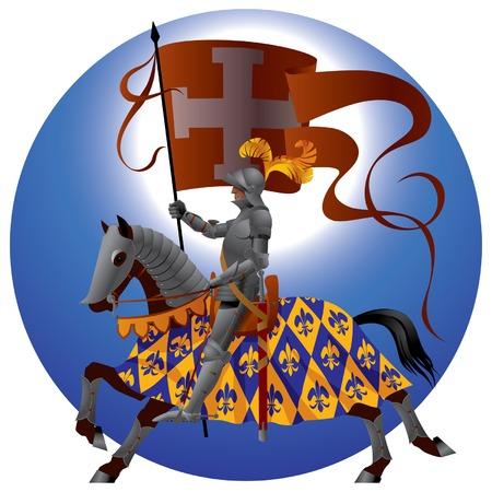 medioevo: Cavaliere vettoriali con uno standard Vettoriali