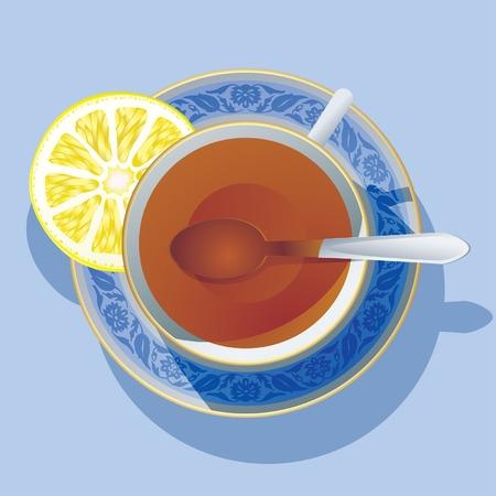 entracte: Image vectorielle de la tasse de th� wit un citron.  Illustration