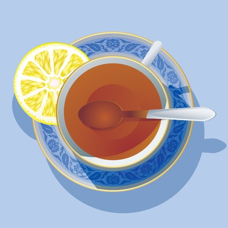 respite: Vector image of the cup of tea wit a lemon