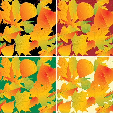 variegated: Four versions of vector foliage background (seamless patterns)
