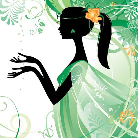 Vector girls silhouette in green Vector
