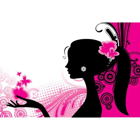 Vector girls silhouette in pink Vector