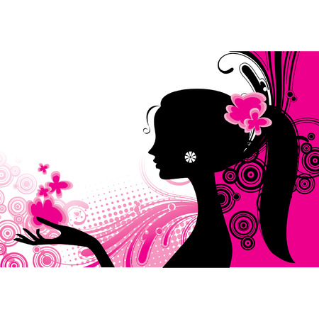 Vector girl's silhouette in pink Çizim