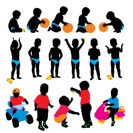 Vector child's silhouettes
