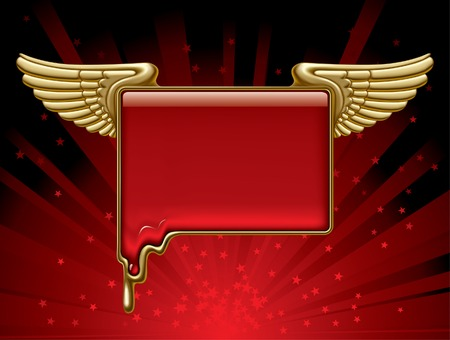 Vector gold banner with wings