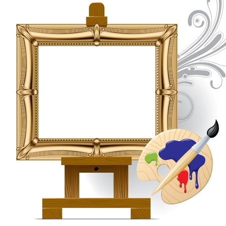 canvas painting: Vector gold frame on a easel