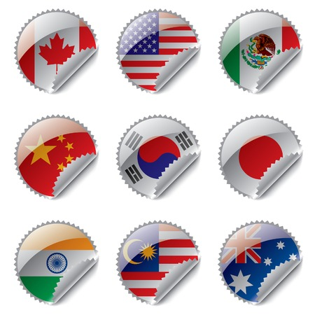 south korea flag: Vector world flag labels Illustration