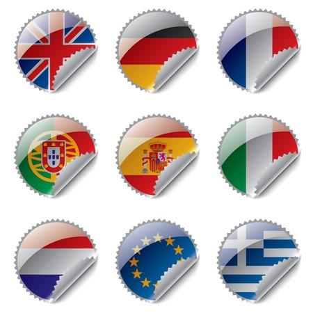 Vector world flag labels Vector