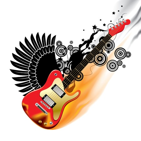 Vector illustration of a red bass guitar in flame on white background