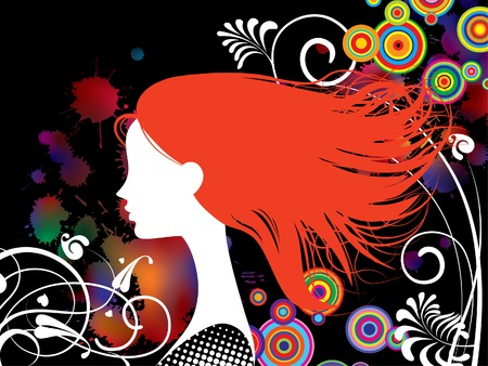 Vector illustration with a girl with red hair Vector