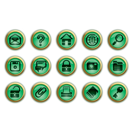 Vector green website and internet icons Stock Vector - 4930790