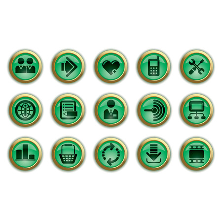 Vector green website and internet icons Stock Vector - 4930788