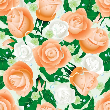 nuptial: Vector nuptial background of roses (seamless pattern) Illustration